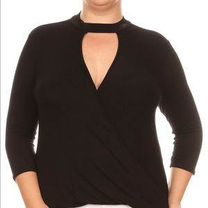 Black 3/4 Quarter Sleeves Blouse